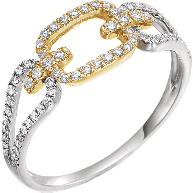 Shop 14 KT White Gold & Yellow 0.33 Carat TW Diamond Link Ring