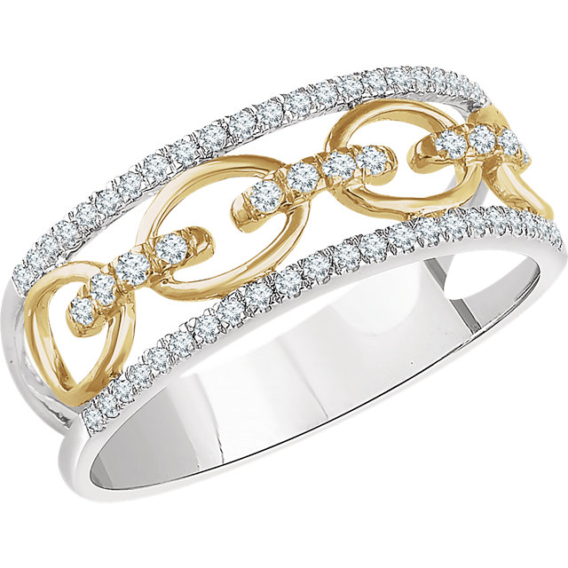 14 Karat White Gold & Yellow 0.25 Carat Diamond Link Ring
