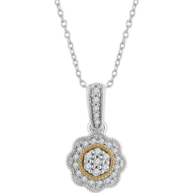 Appealing Jewelry in 14 Karat White Gold & Yellow 0.17 Carat Total Weight Diamond Halo-Style 16-18