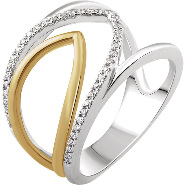 Surprise Her with  14 Karat White Gold & Yellow 0.17 Carat Total Weight Diamond Negative Space Ring