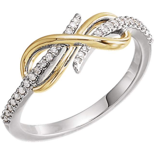 Jewelry Find 14 KT White Gold & Yellow 0.12 Carat TW Diamond Infinity-Inspired Ring