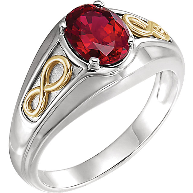 14 Karat White Gold & Yellow Genuine Chatham Rubyfinity-Inspired Men's Ring