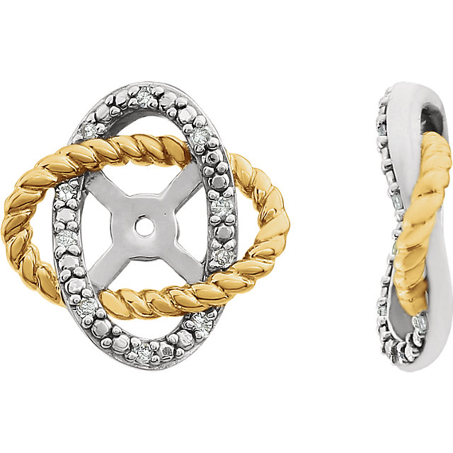 Genuine  14 KT White Gold & Yellow Gold-Plated .07 Carat TW Diamond Earring Jackets