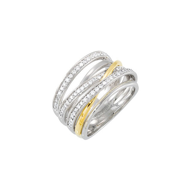 14 Karat White Gold & Yellow 0.50 Carat Diamond Ring Size 7