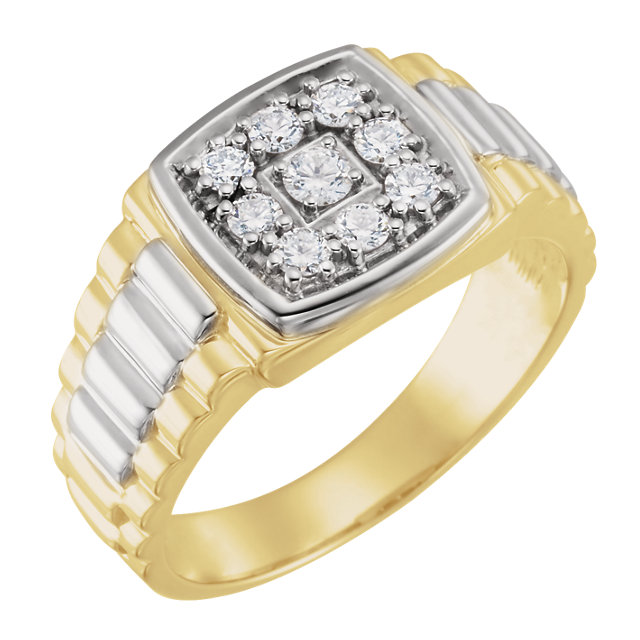 Beautiful 14 Karat Yellow Gold & White 0.40 Carat Total Weight Diamond Men's Ring