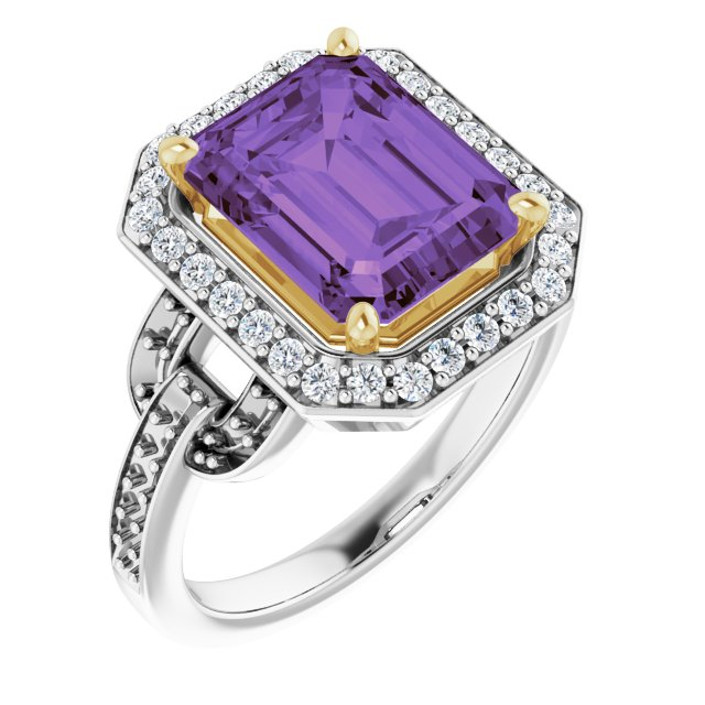 Genuine Amethyst Ring in 14 Karat White & Yellow Gold Amethyst & 0.50 Carat Diamond Ring