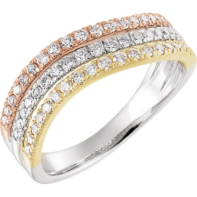 Low Price on Quality 14 KT White Gold, Yellow, & Rose 0.50 Carat TW Diamond Stacked Ring
