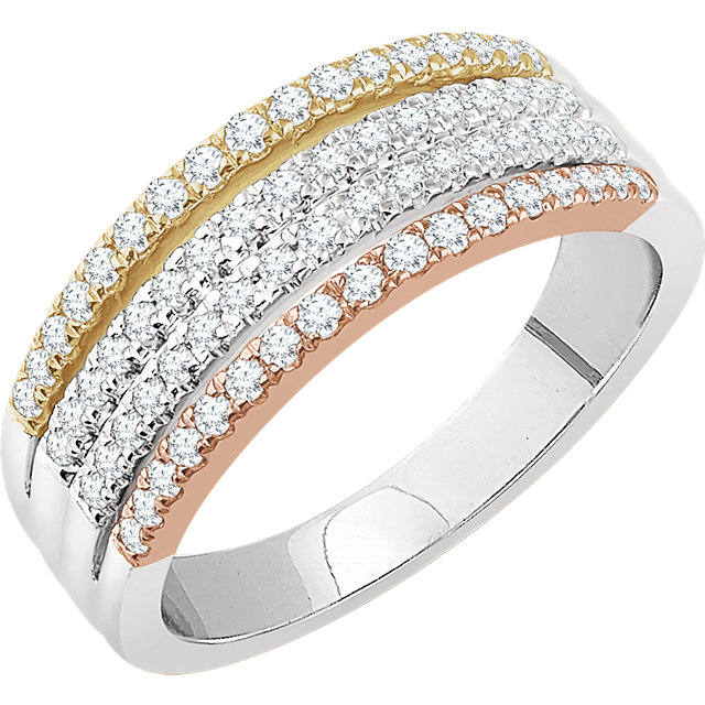 Deal on 14 KT White Gold, Yellow, & Rose 0.50 Carat TW Diamond Stacked Ring