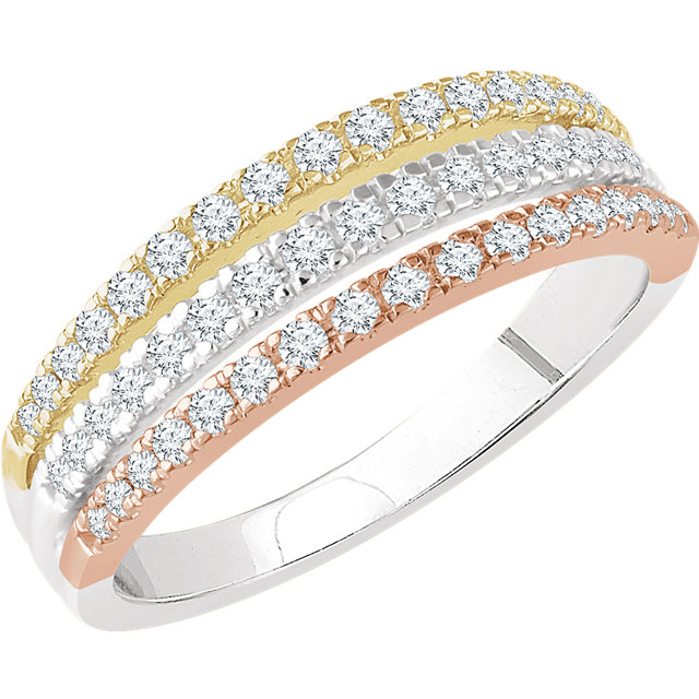 Perfect Gift Idea in 14 Karat White Gold, Yellow, & Rose 0.50 Carat Total Weight Diamond Stacked Ring