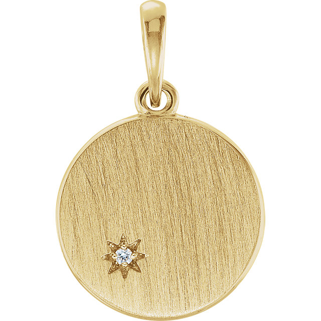 14 Karat Yellow Gold .005 Carat Round Genuine Diamond Engravable Pendant