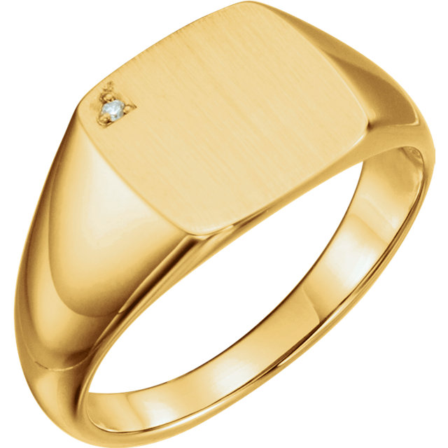Genuine 14 Karat Yellow Gold .0075 Carat Diamond Men's Signet Ring