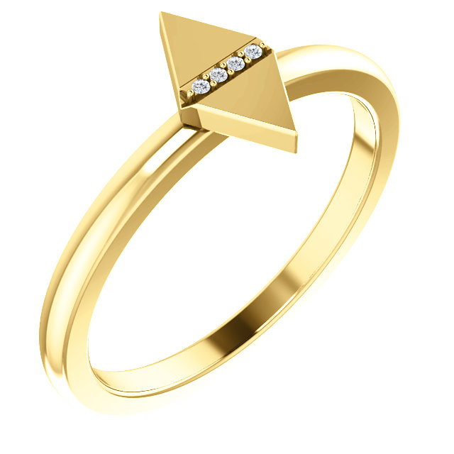 Quality 14 KT Yellow Gold .01 Carat TW Diamond Geometric Ring