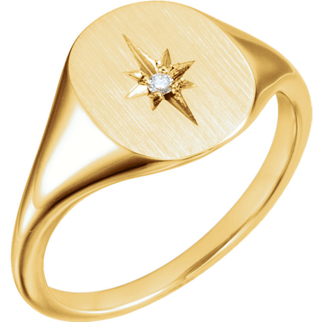 Low Price on Quality 14 KT Yellow Gold .02 Carat TW Diamond Signet Ring