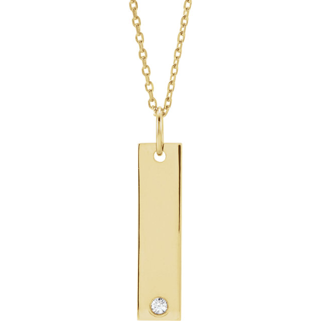 Appealing Jewelry in 14 Karat Yellow Gold .03 Carat Diamond Engravable Bar 16-18