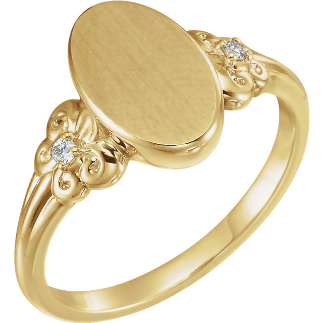 14 Karat Yellow Gold .03 Carat Diamond Fleur-de-lis Oval Signet Ring