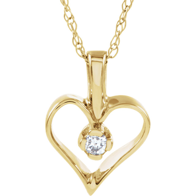 Stunning 14 Karat Yellow Gold .03 Carat Total Weight Diamond Heart 18