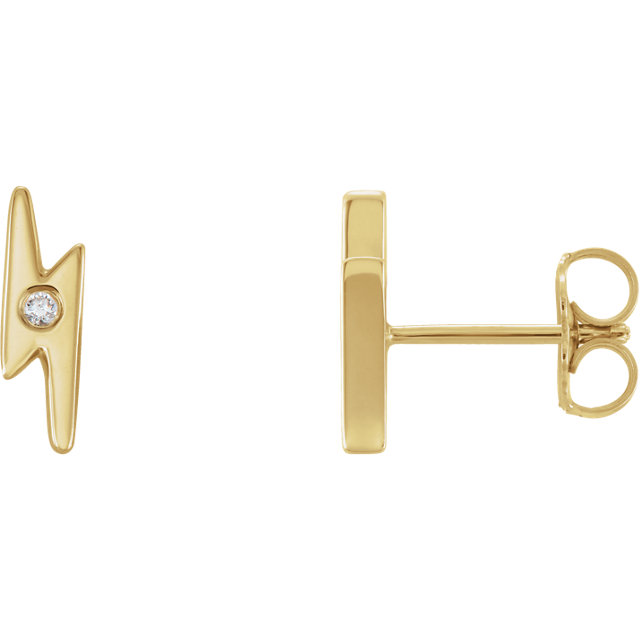 Terrific 14 Karat Yellow Gold .03 Carat Total Weight Round Genuine Diamond Lighting Bolt Earrings