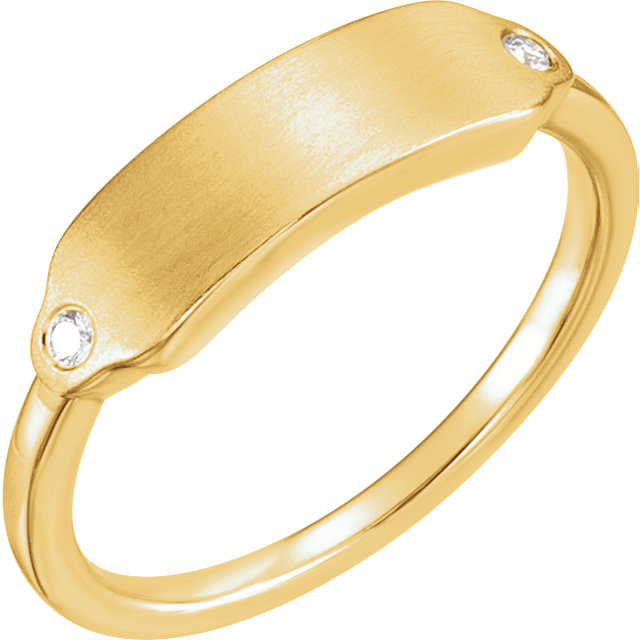 Must See 14 KT Yellow Gold .03 Carat TW Diamond Signet Ring