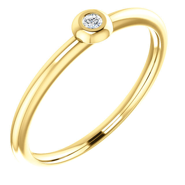 Low Price on 14 KT Yellow Gold .03 Carat TW Diamond Stackable Ring