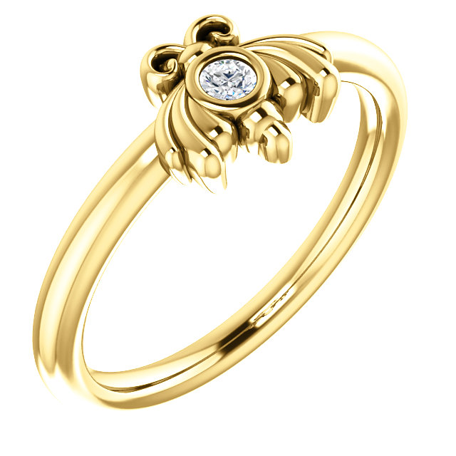 Fine Quality 14 Karat Yellow Gold .03 Carat Total Weight Diamond Youth Bee Ring