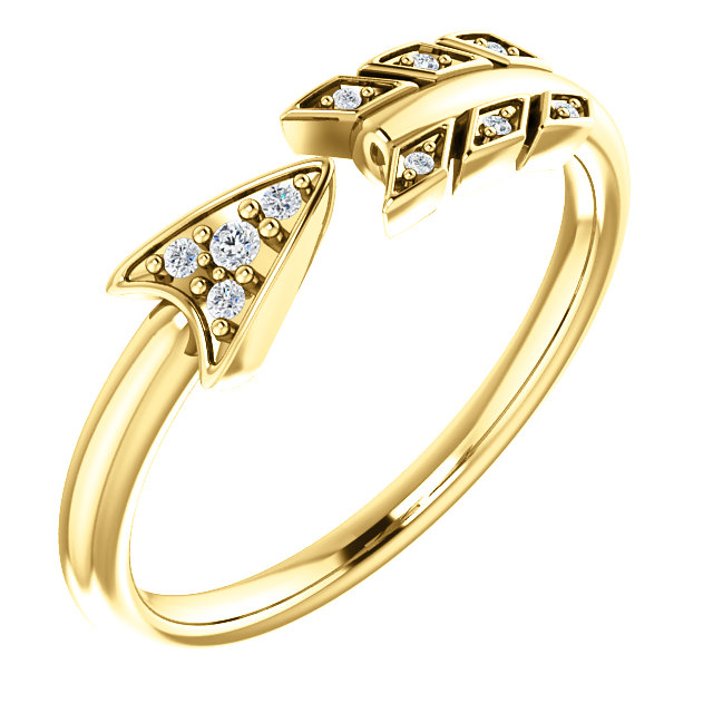Great Deal in 14 Karat Yellow Gold .04 Carat Total Weight Diamond Arrow Ring