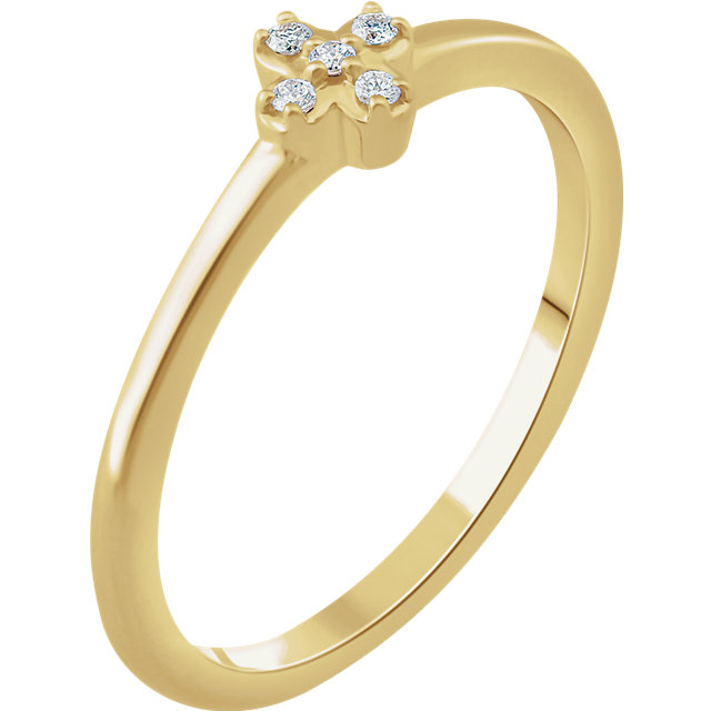 Eye Catchy 14 Karat Yellow Gold .04 Carat Total Weight Diamond Stackable Flower Ring