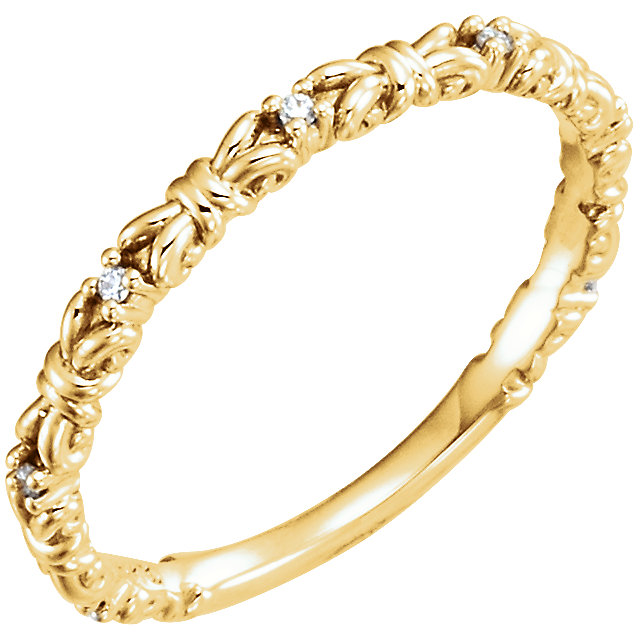 14 Karat Yellow Gold .04 Carat Diamond Stackable Ring