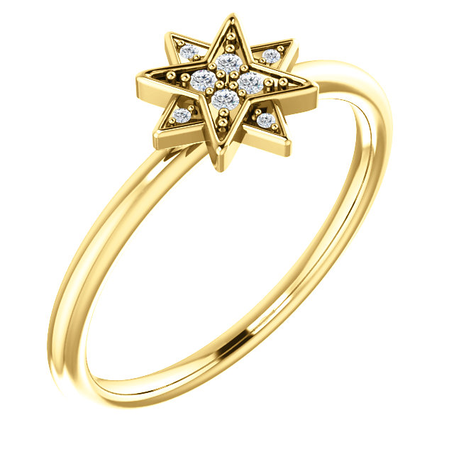 Shop 14 KT Yellow Gold .04 Carat TW Diamond Star Ring