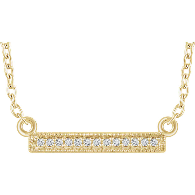 Stunning 14 Karat Yellow Gold .05 Carat Total Weight Diamond Bar 16-18