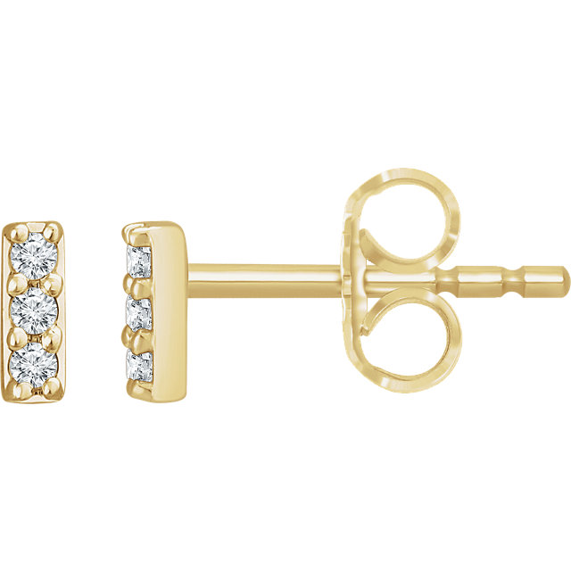 Fine Quality 14 Karat Yellow Gold .05 Carat Total Weight Diamond Bar Earrings