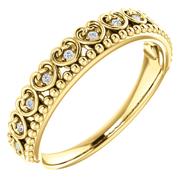 Contemporary 14 Karat Yellow Gold .05 Carat Total Weight Diamond Beaded Heart Stackable Ring