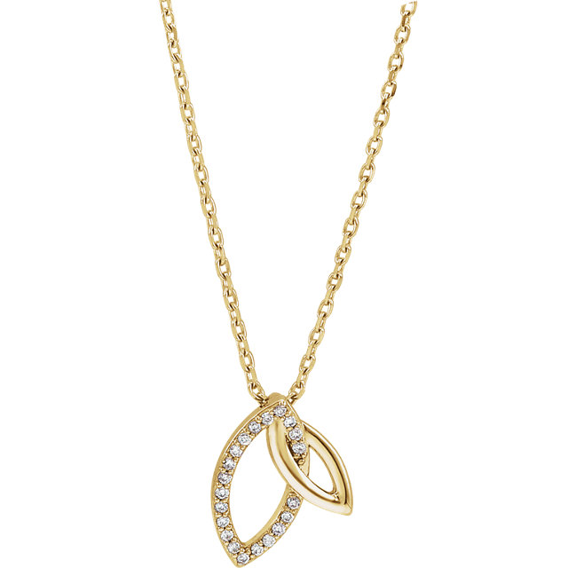 Great Buy in 14 Karat Yellow Gold .05 Carat Total Weight Diamond Double Leaf 18