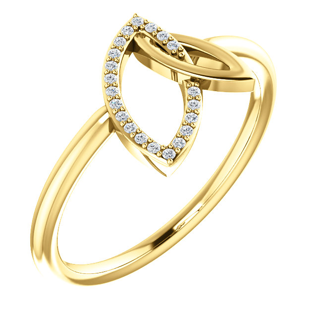 Perfect Jewelry Gift 14 Karat Yellow Gold .05 Carat Total Weight Diamond Double Leaf Ring