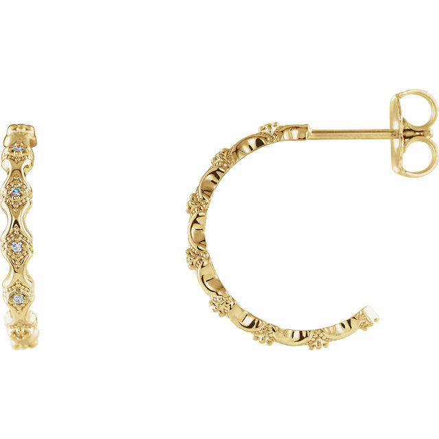 Eye Catchy 14 Karat Yellow Gold .05 Carat Total Weight Diamond Hoop Earrings