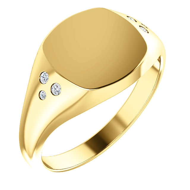 Fine 14 KT Yellow Gold .05 Carat TW Diamond Ladies Signet Ring