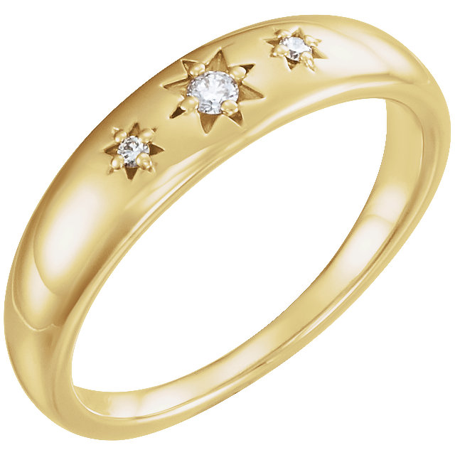 Quality 14 KT Yellow Gold .05 Carat TW Diamond Starburst Ring