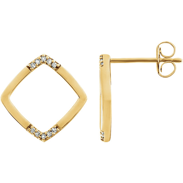 Great Gift in 14 Karat Yellow Gold .05 Carat Total Weight Geometric Diamond Earrings