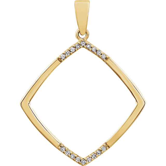 Must See 14 Karat Yellow Gold .05 Carat Total Weight Geometric Diamond Pendant