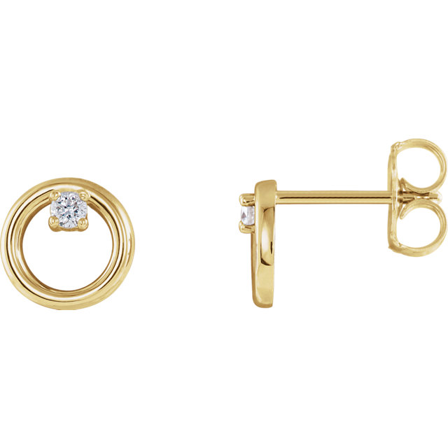 Low Price on Quality 14 KT Yellow Gold .06 Carat TW Diamond Circle Earrings
