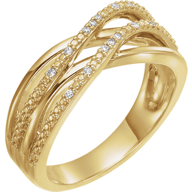 Perfect Gift Idea in 14 Karat Yellow Gold .06 Carat Total Weight Diamond Criss-Cross Ring