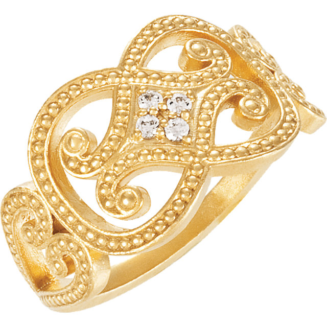 Genuine 14 Karat Yellow Gold .05 Carat Diamond Granulated Ring