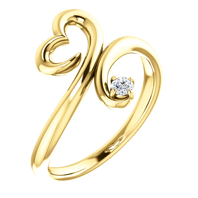 Nice 14 Karat Yellow Gold .06 Carat Round Genuine Diamond Heart Ring