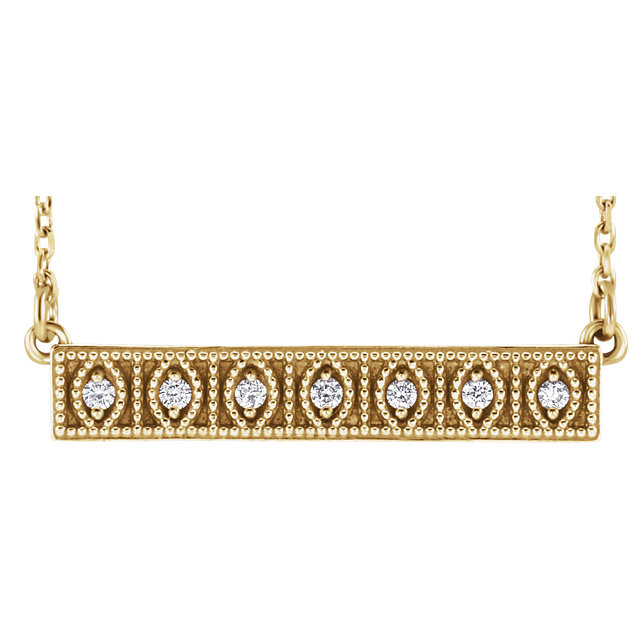 Appealing Jewelry in 14 Karat Yellow Gold .06 Carat Total Weight Diamond Milgrain Bar 16-18