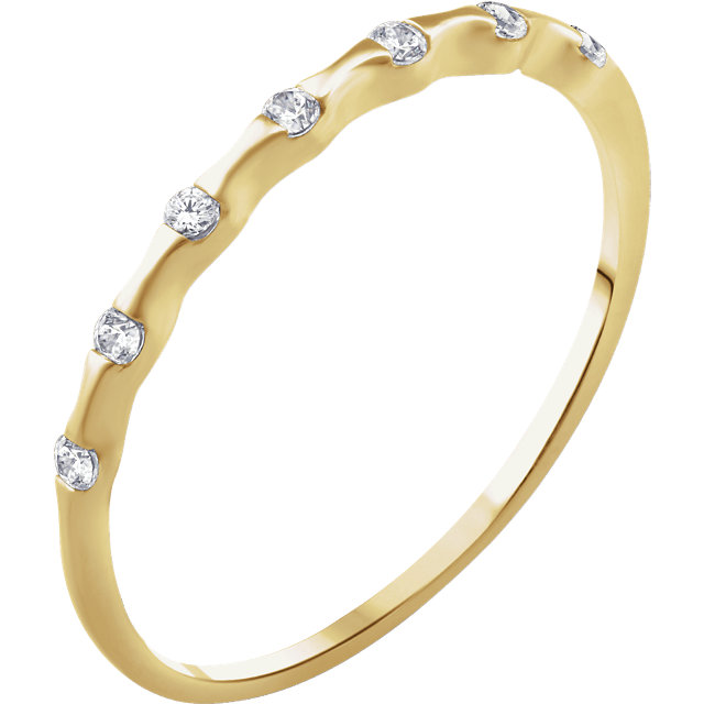 Great Gift in 14 Karat Yellow Gold .06 Carat Total Weight Diamond Stackable Ring