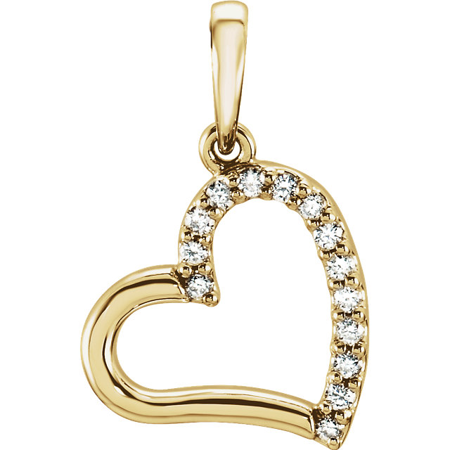 Buy 14 Karat Yellow Gold .07 Carat Diamond Heart Pendant
