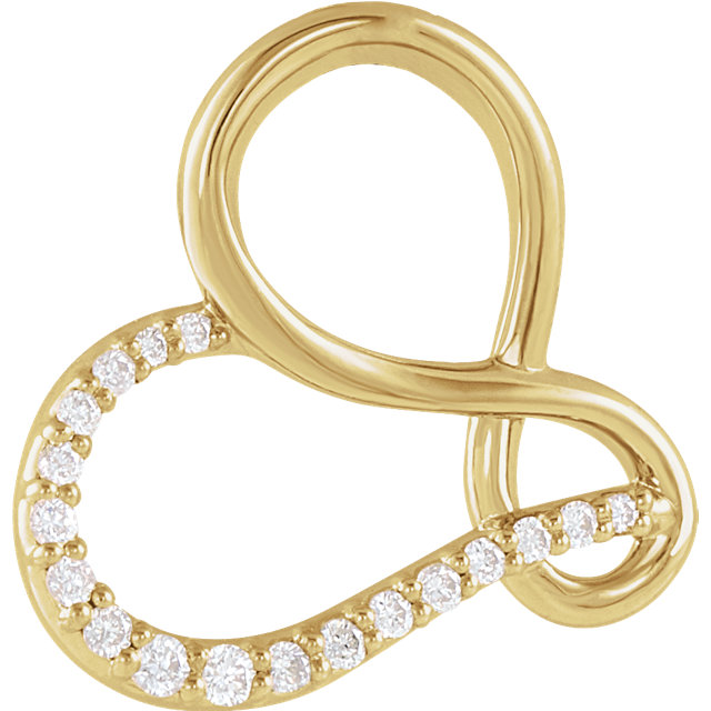 Perfect Jewelry Gift 14 Karat Yellow Gold .07 Carat Total Weight Diamond Infinity-Inspired Heart Pendant