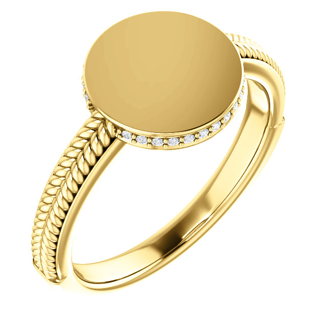 Jewelry in 14 KT Yellow Gold .07 Carat TW Diamond Ladies Signet Ring