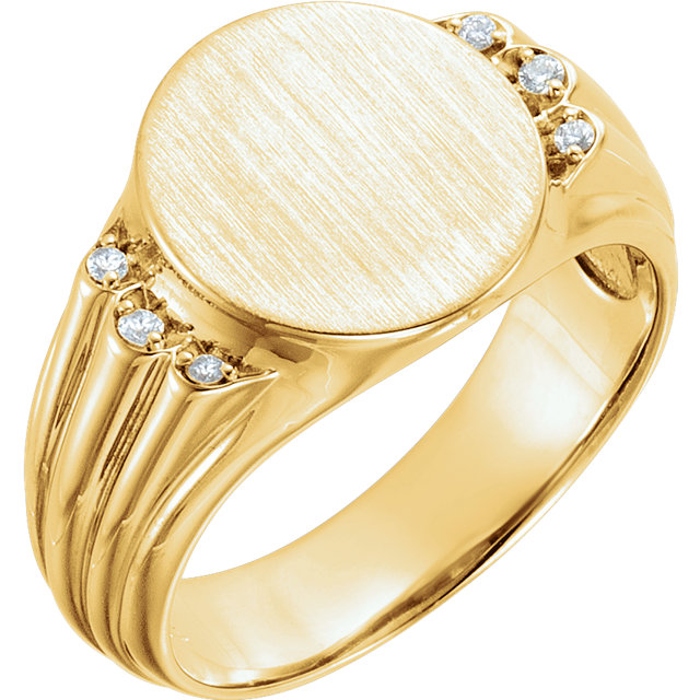 Genuine  14 KT Yellow Gold .07 Carat TW Diamond Men's Oval Signet Ring