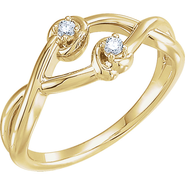 14 KT Yellow Gold .08 Carat TW Diamond Double Knot Ring
