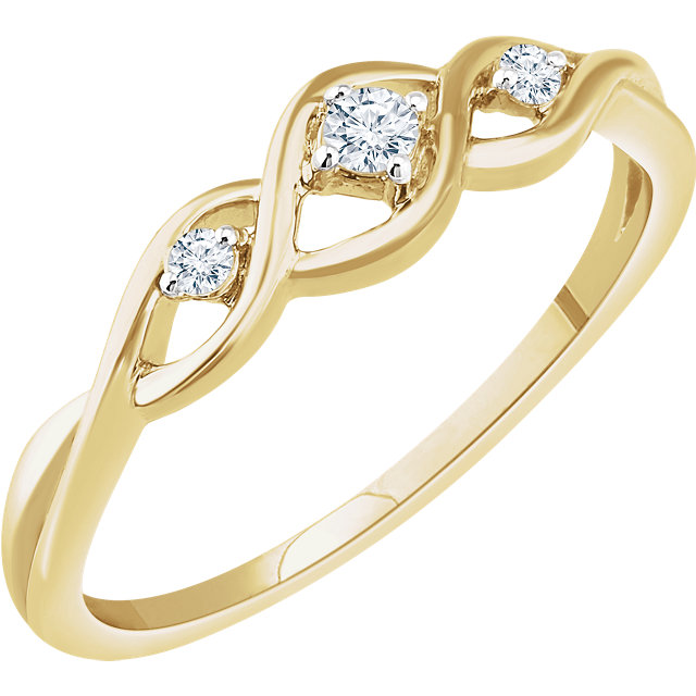 Genuine 14 KT Yellow Gold .08 Carat TW Diamond Freeform Ring